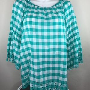 Checkered Long Sleeve W/ Embroidery